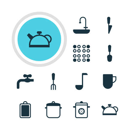 washbowl: Vector Illustration Of 12 Cooking Icons. Editable Pack Of Fork, Chopping Desk, Faucet And Other Elements.
