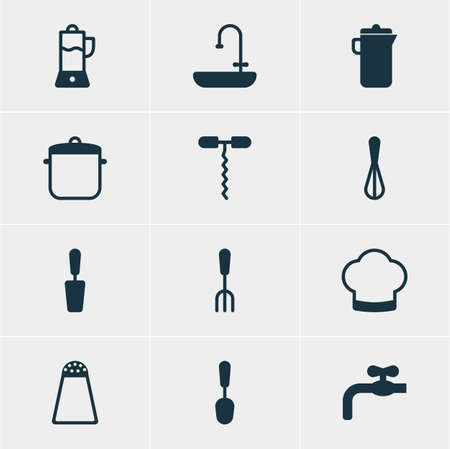 washbowl: Vector Illustration Of 12 Restaurant Icons. Editable Pack Of Jug, Wine Opener, Corolla And Other Elements. Illustration