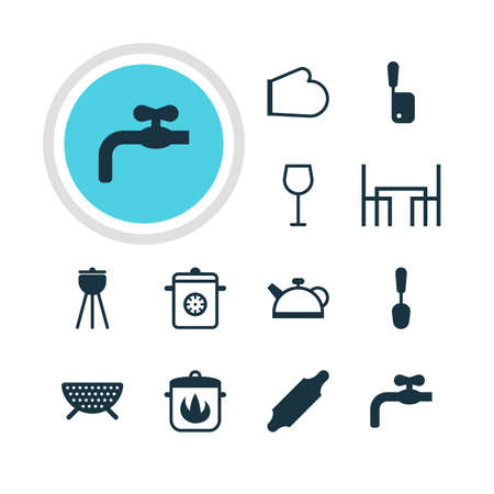 percolate: Vector Illustration Of 12 Kitchenware Icons. Editable Pack Of Butcher Knife, Wine, Sieve And Other Elements. Illustration