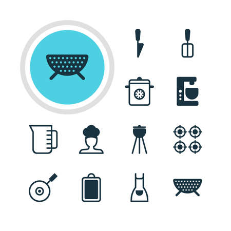 browning: Vector Illustration Of 12 Kitchenware Icons. Editable Pack Of Smock, Kitchen Dagger, Cook And Other Elements. Illustration