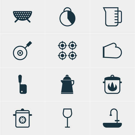 washbowl: Vector Illustration Of 12 Cooking Icons. Editable Pack Of Skillet, Tea, Wine And Other Elements.