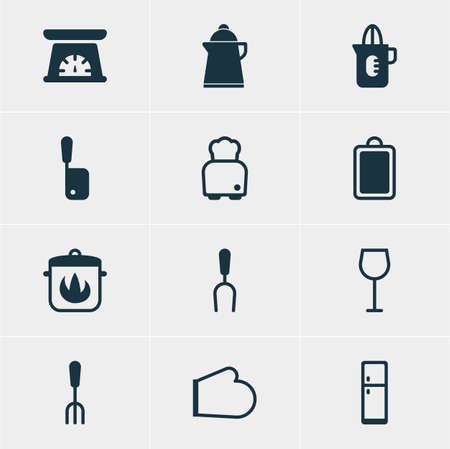 Vector Illustration Of 12 Cooking Icons. Editable Pack Of Shaker, Barbecue Tool, Chopping Desk And Other Elements.