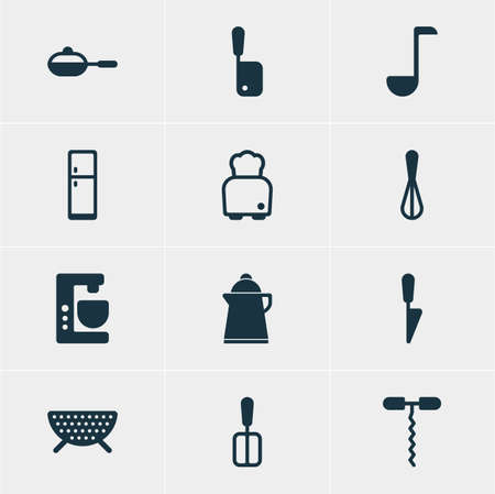 drainer: Vector Illustration Of 12 Cooking Icons. Editable Pack Of Wine Opener, Tea, Kitchen Dagger And Other Elements.
