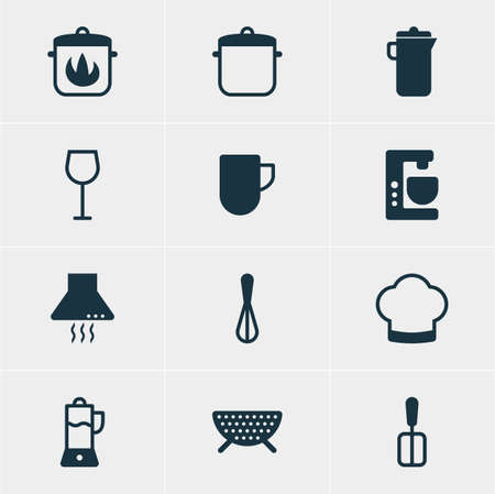 drainer: Vector illustration of 12 cooking icons. Editable pack of corolla, jug, chef hat.