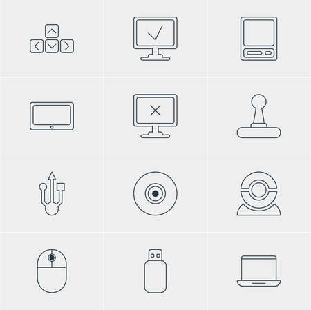 minicomputer: Vector illustration of 12 computer icons. Editable pack of usb icon, notebook, objective.