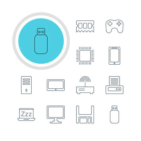 Vector illustration of 12 notebook icons. Editable pack of screen, memory chip.