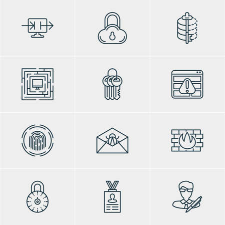 classified: Vector illustration of 12 web safety icons. Editable pack of system security, safe lock.