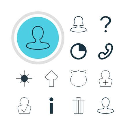 approbation: Vector illustration of 12 member icons. Editable pack of guard, garbage, handset elements.