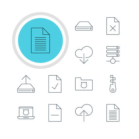 wap: Vector Illustration Of 12 Internet Icons. Editable Pack Of Secure Laptop, Note, Hdd Sync And Other Elements.