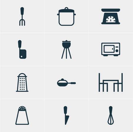 Vector illustration of 12 restaurant icons.