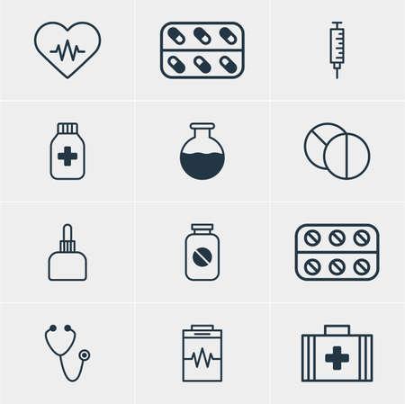 diastolic: Vector illustration of 12 medical icons.