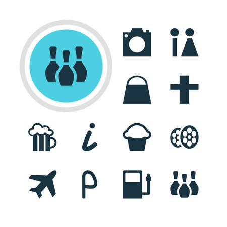 fill in: Vector illustration of 12 location icons.