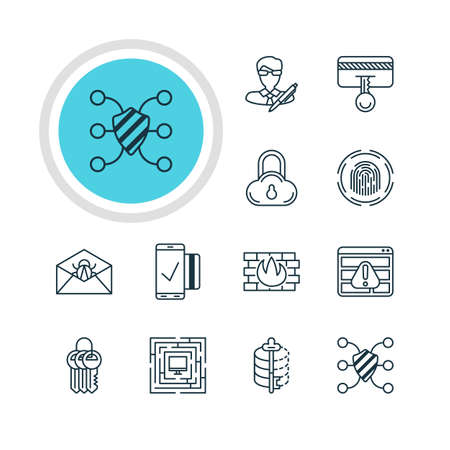 classified: Vector illustration of 12 internet security icons.