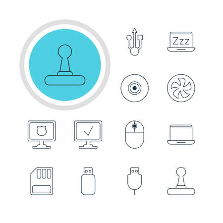 minicomputer: Vector illustration of 12 notebook icons.