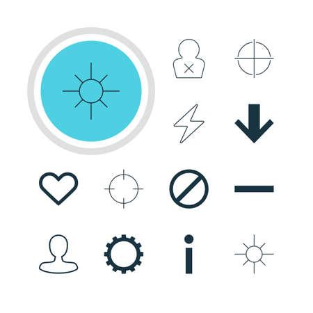 focalize: Vector illustration of 12 interface icons. Editable pack of sunshine, bolt, access denied. Illustration