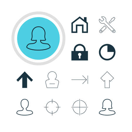 tabulation: Vector Illustration Of 12 Interface Icons. Editable Pack Of Padlock, Mainpage, Man Member And Other Elements. Illustration