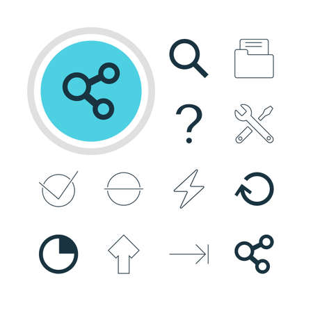 tabulation: Vector Illustration Of 12 Member Icons. Editable Pack Of Seek, Tabulation Button, Yes And Other Elements.