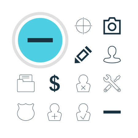 focalize: Vector Illustration Of 12 Interface Icons. Editable Pack Of Approved Profile, Maintenance, Register Account And Other Elements.