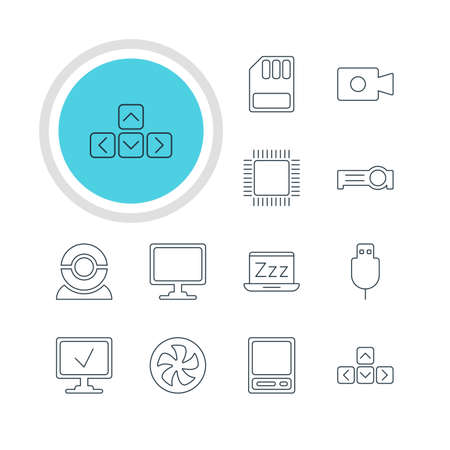 minicomputer: Vector Illustration Of 12 Laptop Icons. Editable Pack Of Web Camera, Cooler, Laptop And Other Elements.