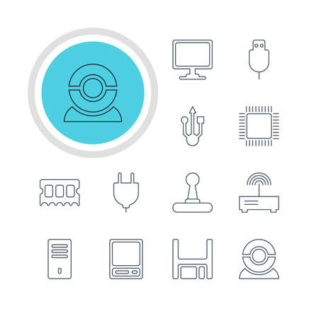 storage device: Vector Illustration Of 12 Notebook Icons. Editable Pack Of Serial Bus, Pda, Game Controller And Other Elements.