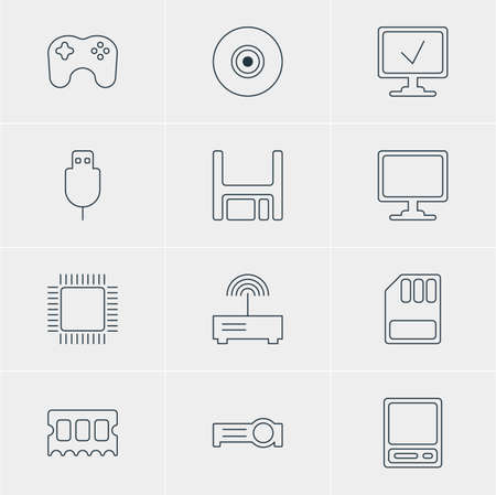 minicomputer: Vector Illustration Of 12 Laptop Icons. Editable Pack Of Router, Microprocessor, Memory Chip And Other Elements.