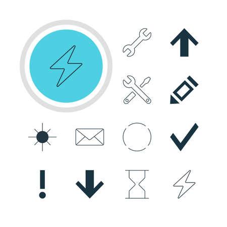 brightness: Vector illustration of 12 member icons.