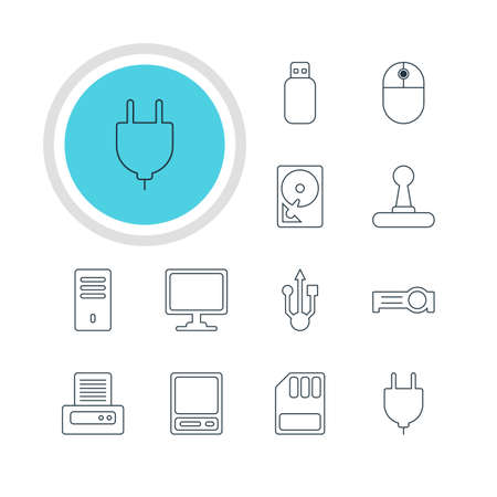 Vector Illustration Of 12 Notebook Icons. Editable Pack Of Hard Drive Disk, Flash Drive, Printer And Other Elements.