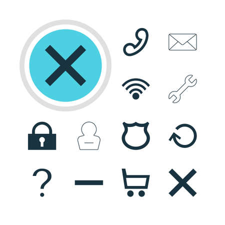 Vector Illustration Of 12 Member Icons. Editable Pack Of Help, Envelope, Wrong And Other Elements.
