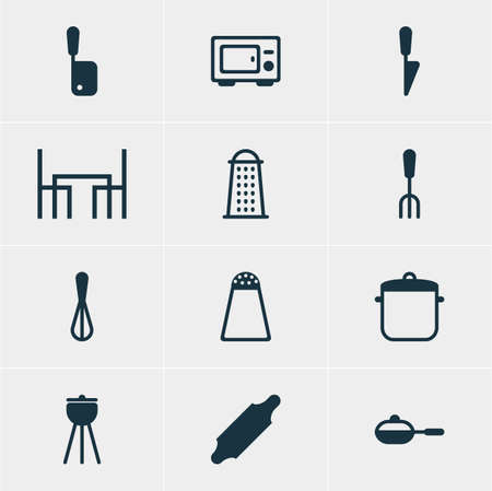 saute: Vector Illustration Of 12 Restaurant Icons. Editable Pack Of Bakery Roller, Corolla, Slicer And Other Elements.