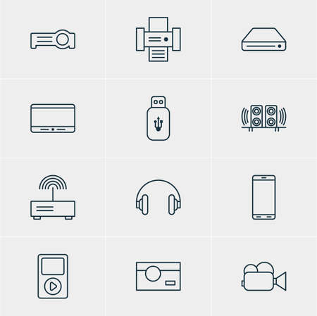 tv unit: Vector Illustration Of 12 Device Icons. Editable Pack Of Smartphone, Usb Card, Camcorder And Other Elements.