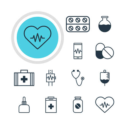 soundness: Vector Illustration Of 12 Medicine Icons. Editable Pack Of Heart Rhythm, Vial, Pulse And Other Elements. Illustration