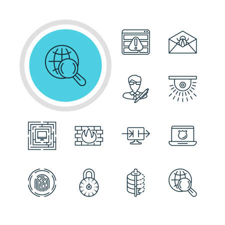 Vector Illustration Of 12 Web Safety Icons. Editable Pack Of Internet Surfing, Network Protection, Corrupted Mail And Other Elements. Illustration