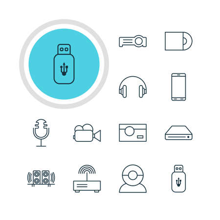 lens unit: Vector Illustration Of 12 Device Icons. Editable Pack Of Camcorder, Video Chat, Dvd Drive And Other Elements. Illustration