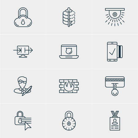 classified: Vector Illustration Of 12 Data Protection Icons. Editable Pack Of Copyright, Send Information, Confidentiality Options And Other Elements.