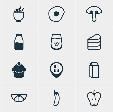 cruet: Vector Illustration Of 12 Cuisine Icons. Editable Pack Of Restaurant, Cruet, Patisserie And Other Elements.