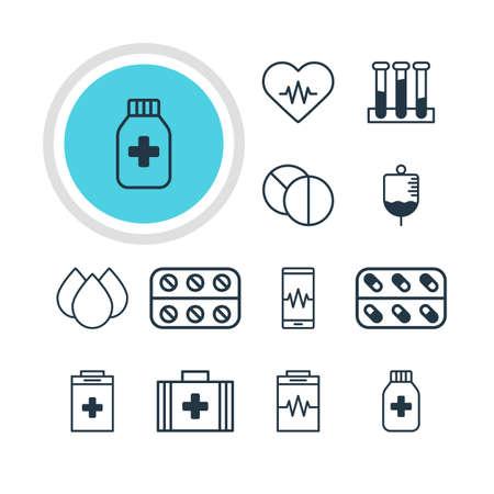 reflection of life: Illustration of 12 medicine icons.
