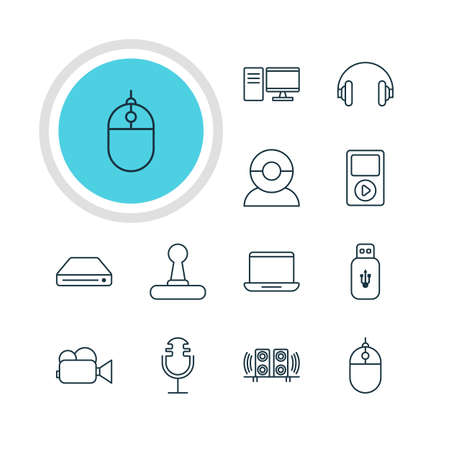 storage device: Vector Illustration Of 12 Device Icons. Editable Pack Of Memory Storage, Headset, Usb Card And Other Elements.
