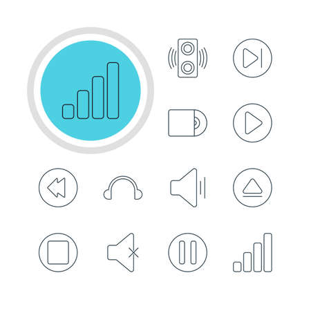 subsequent: Vector Illustration Of 12 Melody Icons. Editable Pack Of Reversing, Audio, Start And Other Elements.