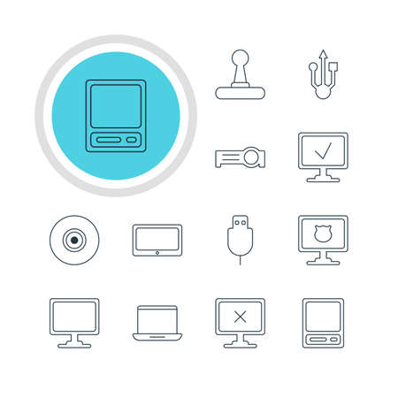 minicomputer: Vector Illustration Of 12 Laptop Icons. Editable Pack Of Antivirus, Notebook, Usb Icon And Other Elements.