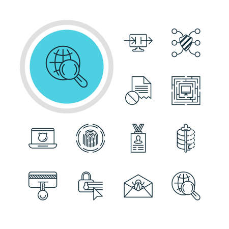 Vector Illustration Of 12 Privacy Icons. Editable Pack Of Confidentiality Options, Safety Key, Account Data And Other Elements.