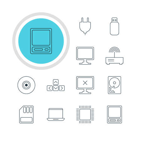 minicomputer: Vector Illustration Of 12 Computer Icons. Editable Pack Of Screen, Keypad, Router And Other Elements.
