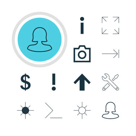tabulation: Vector Illustration Of 12 Interface Icons. Editable Pack Of Snapshot, Startup, Tabulation Button And Other Elements. Illustration