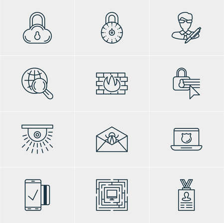 classified: Vector illustration of 12 web safety icons.