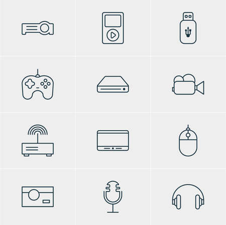 storage device: Vector Illustration Of 12 Accessory Icons. Editable Pack Of Camcorder, Memory Storage, Monitor And Other Elements.