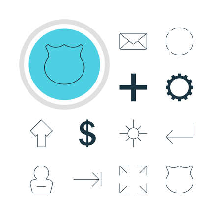 tabulation: Vector Illustration Of 12 Member Icons. Editable Pack Of Sunshine, Wide Monitor, Cogwheel And Other Elements. Illustration