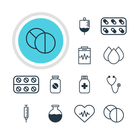 doctor tablet: Vector Illustration Of 12 Health Icons. Editable Pack Of Treatment, Aspirin, Antibody And Other Elements. Illustration