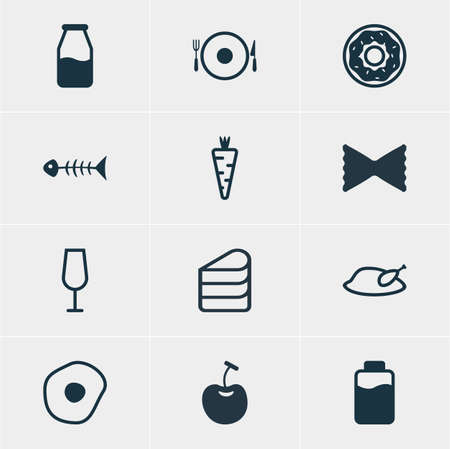 cruet: Vector Illustration Of 12 Dish Icons. Editable Pack Of Cake, Goblet, Cruet And Other Elements.