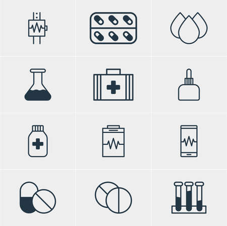 diastolic: Vector Illustration Of 12 Health Icons. Editable Pack Of Treatment, Experiment Flask, Round Tablet And Other Elements.
