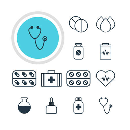 diastolic: Vector Illustration Of 12 Health Icons. Editable Pack Of Treatment, Vial, Heart Rhythm And Other Elements.