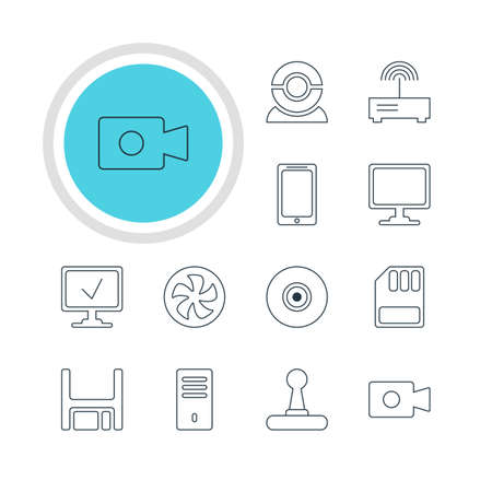 lens unit: Vector Illustration Of 12 Notebook Icons. Editable Pack Of Cooler, Online Computer, Screen And Other Elements.